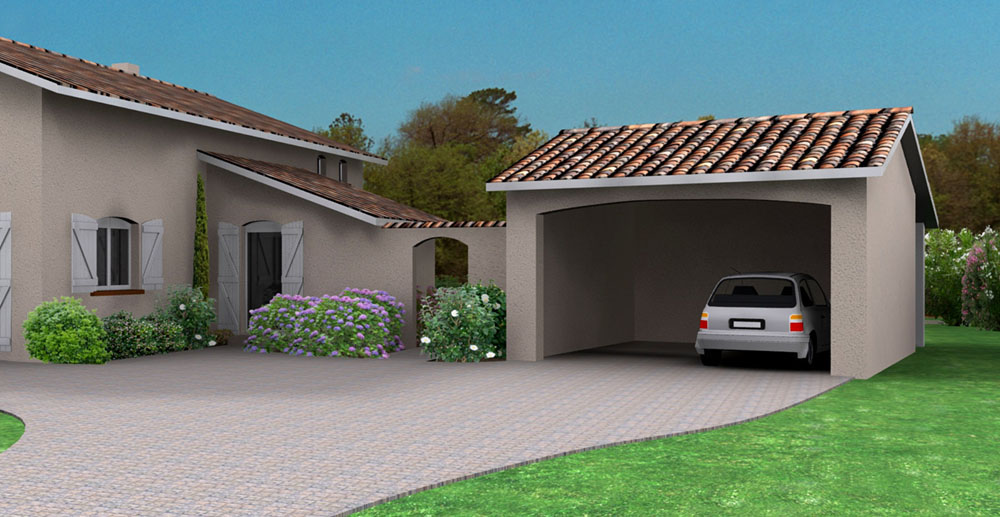 Zone parking dans jardin for Garage automobile ouvert