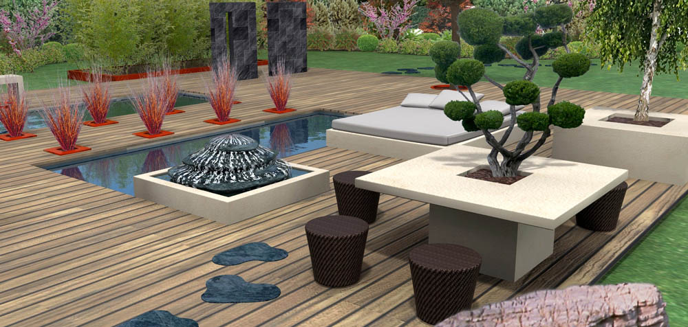 coin repas au jardin en 3d. Black Bedroom Furniture Sets. Home Design Ideas