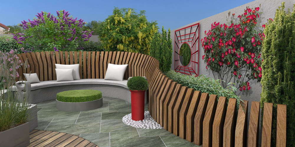 Coins salon au jardin en 3d for Salon jardin design contemporain