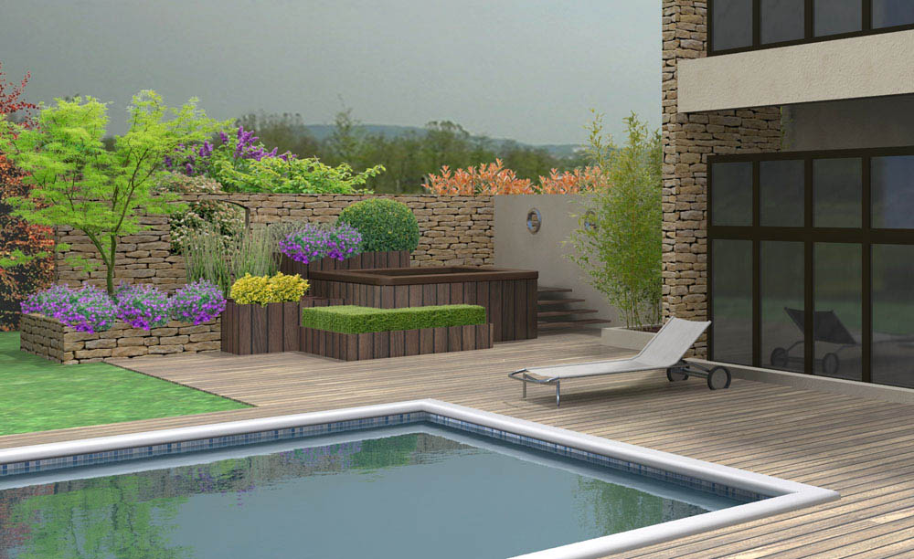 projets 3d de spa dans un jardin. Black Bedroom Furniture Sets. Home Design Ideas