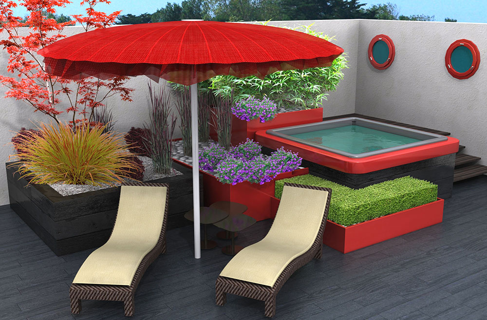 projets 3d de spa dans un jardin. Black Bedroom Furniture Sets. Home Design Ideas